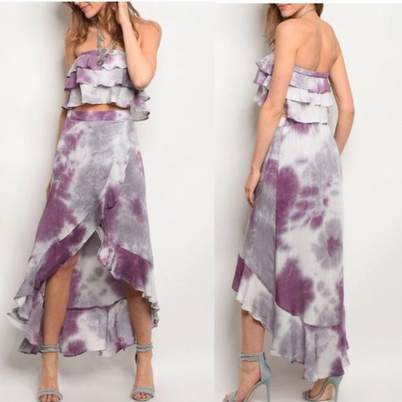 801d35795f LAST Tie Dye Ruffle Crop Top Hi Low 2pc Skirt Set